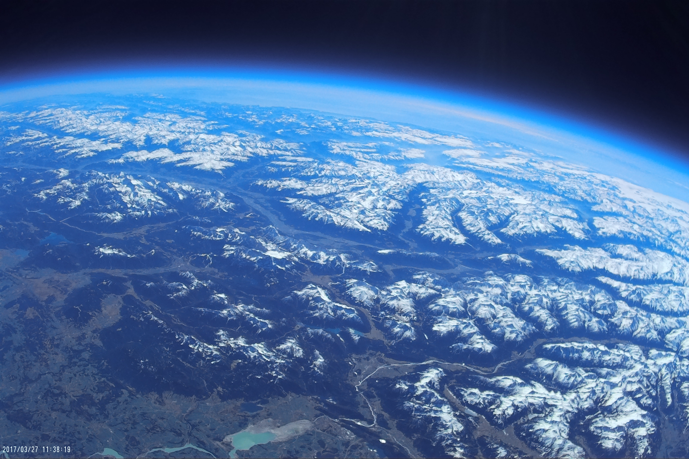 Blick auf die Erde vom Stratosphärenballon aus.